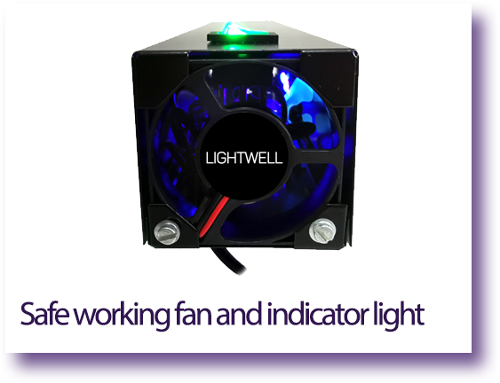 Safe working fan and indicator light